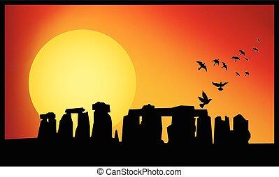 stonehenge, たそがれ