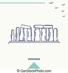 stonehenge, ベクトル, スカイライン, イラスト