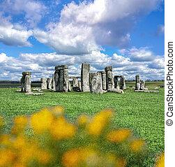 stonehenge, 와, 극적인 하늘, 에서, 영국