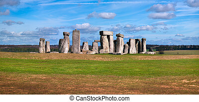 Stonehenge - A panoramic view of stonehenge in England.