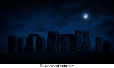 Stonehenge At Night With Full Moon - Stonehenge in the dark...
