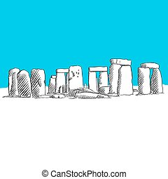 Stonehenge drawing, Blue Series, Hand-drawn Vector Artwork