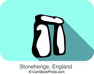 Stonehenge, England, landmark flat icon design