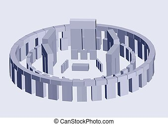 stonehenge. abstract 3D scheme of historical landmark