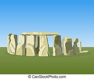 Stonehenge famous prehistoric monument consists of ring...