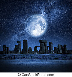 Stonehenge full moon - An image of Stonehenge with a full...