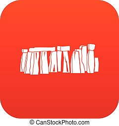 Stonehenge icon digital red for any design isolated on white...