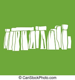 Stonehenge icon green - Stonehenge icon white isolated on...