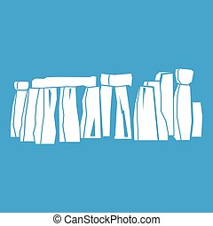 Stonehenge icon white isolated on blue background vector...