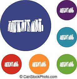Stonehenge icons set in flat circle reb, blue and green...