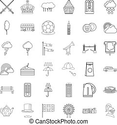 Stonehenge icons set, outline style - Stonehenge icons set....