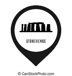 stonehenge, ikone, freigestellt, weiß, hintergrund., vektor, abbildung