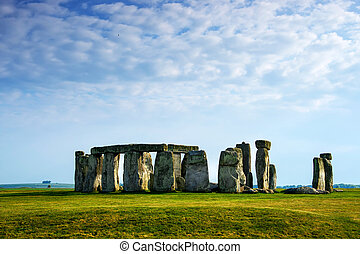 Stonehenge in Wiltshire in the Great Britain