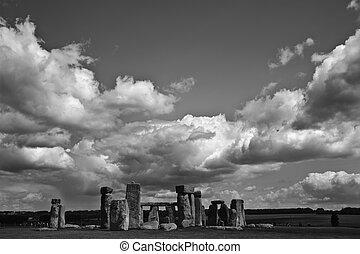stonehenge, inghilterra, midsummer, midwinter, solstice., tramonto, alba, allineato, celebrare