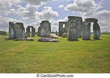 stonehenge, is, gerichte, met, de, midsummer, zonopkomst,...