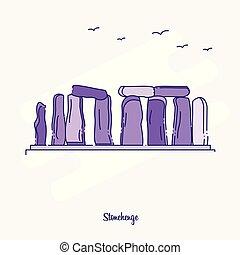 STONEHENGE Landmark Purple Dotted Line skyline vector illustration
