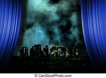 Stonehenge landscape and curtains