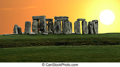 Stonehenge large panorama, United Kingdom - Stonehenge...