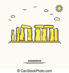 stonehenge, nature, affiche, voyage, style, jaune, scène, illustration, fond, monument, mondiale, ligne, beauture, template.