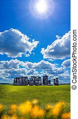 stonehenge, noha, drámai ég, alatt, anglia