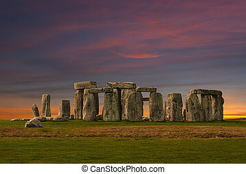 stonehenge, op, ondergaande zon