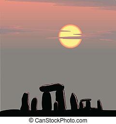 stonehenge, op, schemering
