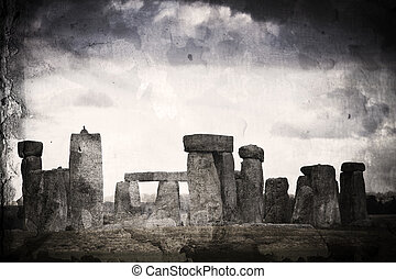 Stonehenge retro. - A vintage stained effect view of stone...