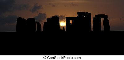 Stonehenge silhouette large panorama, United Kingdom -...