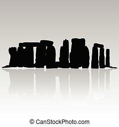 stonehenge silhouette vector in black