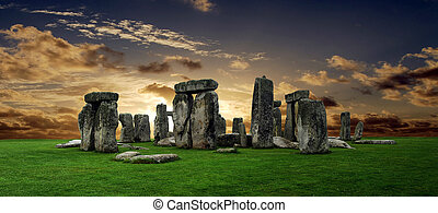 Stonehenge large panorama at sunset, United Kingdom (without...