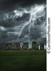 stonehenge, tempesta, lampo