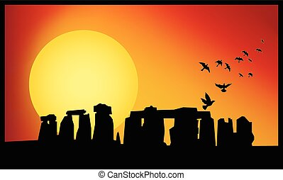 stonehenge twilight - Stonehenge panorama. Stonehenge at...
