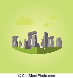 Stonehenge Vector Illustration in Flat Style