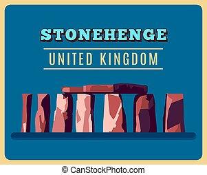 Stonehenge vintage poster. Vector illustration