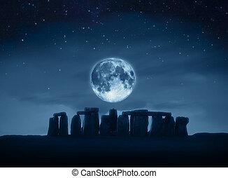 stonehenge, volle maan