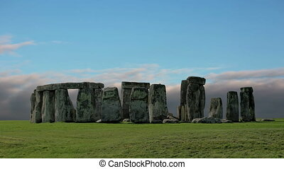 Stonehenge with cloud time lapse.