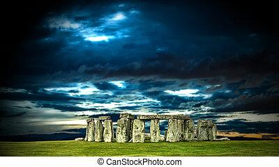 Stonehenge with cloudy sky, England. UK