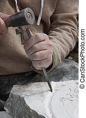stonemason, piedra, antiguo, procesamiento, cincel, disfraz...