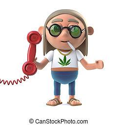 stoner, 3d, hippie, réponses, téléphone