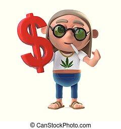 stoner, hippie, symbole, dollar, nous, a, 3d