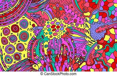 stoner, organisch, psychedelic, elements., illustration., ...