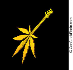 stoner rock - golden hemp guitar on black background - 3d...