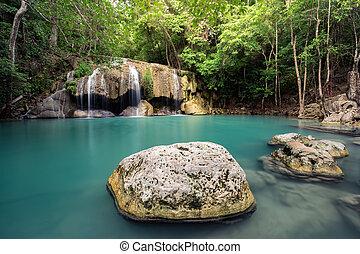 stones, воды, водопад, зеленый