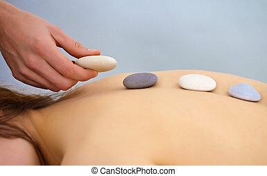 stones, -, процедура, с помощью, спа, круглый, массаж