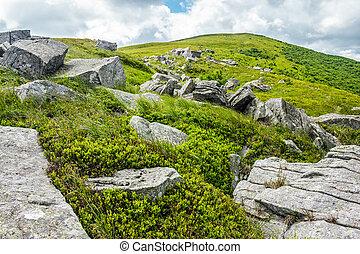 stones and boulders in Carpathian mountain range - white...