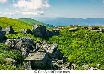 stones and boulders in Carpathian mountain range - white...