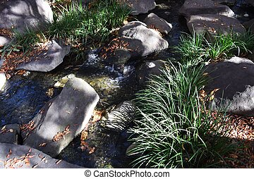 Stones and flowing water of Japanese garden