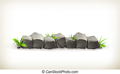 Stones and grass, vector