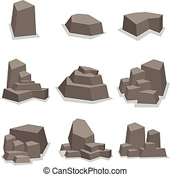 Stones and rock set collection vector