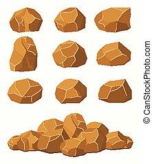 Stones and rocks, brown stones boulders.
